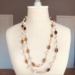 Jewelry - Double chain Ivory & Brown Stone Beaded Necklace